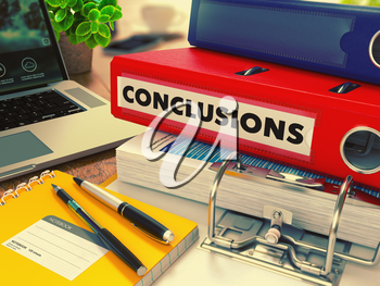 Red Office Folder with Inscription Conclusions on Office Desktop with Office Supplies and Modern Laptop. Business Concept on Blurred Background. Toned Image. 3D Render.