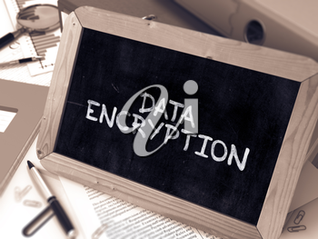 Handwritten Data Encryption on a Chalkboard. Composition with Chalkboard and Ring Binders, Office Supplies, Reports on Blurred Background. Toned Image. 3D Render.