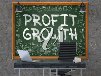 Profit Growth - Handwritten Inscription by Chalk on Green Chalkboard with Doodle Icons Around. Business Concept in the Interior of a Modern Office on the Dark Old Concrete Wall Background. 3D.