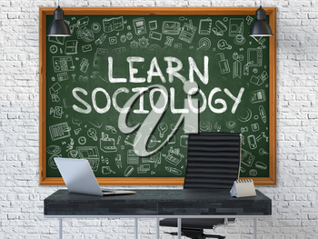 Hand Drawn Learn Sociology on Green Chalkboard. Modern Office Interior. White Brick Wall Background. Business Concept with Doodle Style Elements. 3D.