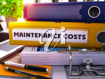 Yellow Office Folder with Inscription Maintenance Costs on Office Desktop with Office Supplies and Modern Laptop. Maintenance Costs Business Concept on Blurred Background. 3D Render.