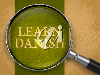 Learn Danish through Loupe on Old Paper with Dark Green Vertical Line Background. 3D Render.