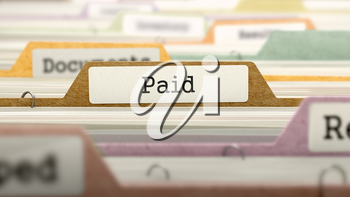 Paid on Business Folder in Multicolor Card Index. Closeup View. Blurred Image. 3D Render.