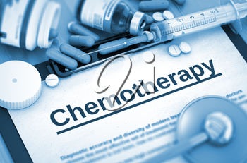 Chemotherapy - Medical Report with Composition of Medicaments - Pills, Injections and Syringe. Chemotherapy - Printed Diagnosis with Blurred Text. 3D.