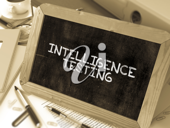 Intelligence Testing - Chalkboard with Hand Drawn Text, Stack of Office Folders, Stationery, Reports on Blurred Background. Toned Image. 3D Render.