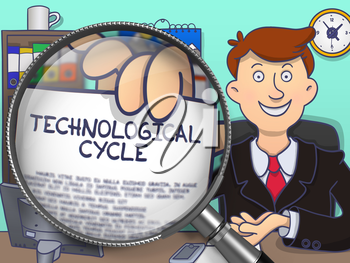 Technological Cycle. Smiling Officeman in Office Workplace Holds Out a Paper with Text through Lens. Multicolor Doodle Illustration.