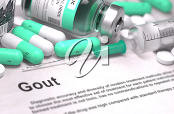Diagnosis - Gout. Medical Concept with Light Green Pills, Injections and Syringe. Selective Focus. Blurred Background. 3D Render.