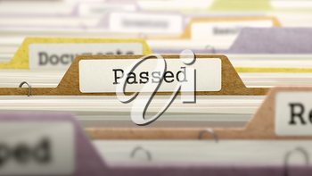 Passed Concept on Folder Register in Multicolor Card Index. Closeup View. Selective Focus. 3D Render.