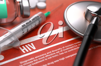 HIV - Human Immunodeficiency Virus - Medical Concept with Blurred Text, Stethoscope, Pills and Syringe on Orange Background. Selective Focus. 3D Render.