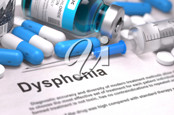 Diagnosis - Dysphonia. Medical Concept with Blue Pills, Injections and Syringe. Selective Focus. Blurred Background. 3D Render.