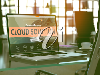 Cloud Solution Concept Closeup on Laptop Screen in Modern Office Workplace. Toned Image with Selective Focus. 3D Render.