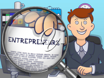 Entrepreneurs.  Officeman Welcomes in Office and Holding a Paper with Inscription through Magnifier. Colored Modern Line Illustration in Doodle Style.