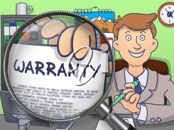 Warranty on Paper in Man's Hand through Lens to Illustrate a Business Concept. Multicolor Modern Line Illustration in Doodle Style.