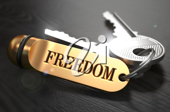 Keys to Freedom - Concept on Golden Keychain over Black Wooden Background. Closeup View, Selective Focus, 3D Render.