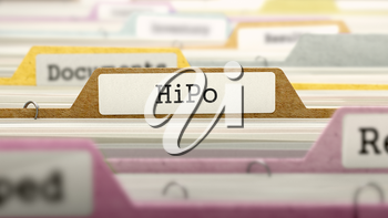 HiPo Concept on Folder Register in Multicolor Card Index. Closeup View. Selective Focus. 3D Render.