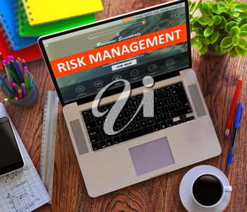 Risk Management on Landing Page of Laptop Screen. Business Concept. 3D Render.