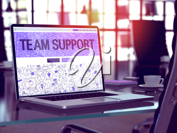 Team Support Concept - Closeup on Landing Page of Laptop Screen in Modern Office Workplace. Toned Image with Selective Focus. 3D Render.