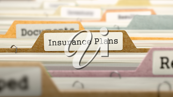 Folder in Colored Catalog Marked as Insurance Plans Closeup View. Selective Focus. 3D Render.