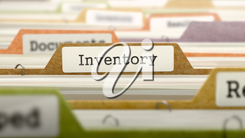 Inventory Concept on Folder Register in Multicolor Card Index. Closeup View. Selective Focus. 3D Render.