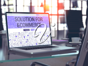 Solution for E-Commerce Concept - Closeup on Landing Page of Laptop Screen in Modern Office Workplace. Toned Image with Selective Focus. 3D Render.