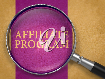 Affiliate Program Concept through Magnifier on Old Paper with Dark Lilac Vertical Line Background. 3D Render.