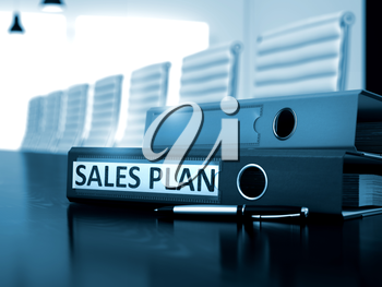 Sales Plan. Business Concept on Toned Background. Sales Plan - Illustration. Sales Plan - Folder on Office Table. 3D.