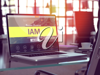 Modern Workplace with Laptop showing Landing Page with IAM - Identity Access Management - Concept. Toned Image with Selective Focus. 3D Render.
