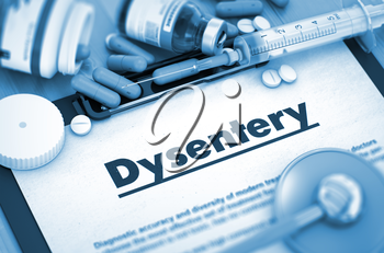Dysentery - Printed Diagnosis with Blurred Text. Dysentery Diagnosis, Medical Concept. Composition of Medicaments. 3D. Toned Image.