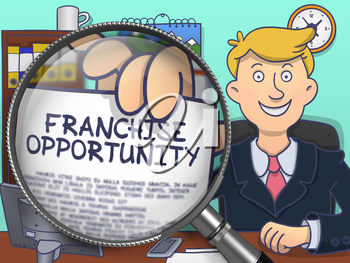Franchise Opportunity on Paper in Man's Hand to Illustrate a Business Concept. Closeup View through Magnifying Glass. Colored Doodle Illustration.