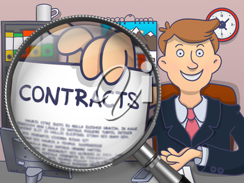 Contracts. Paper with Inscription in Businessman's Hand through Magnifying Glass. Multicolor Modern Line Illustration in Doodle Style.