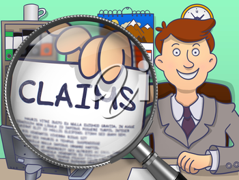 Claims Concept. Officeman Shows Paper with Text Claims. Closeup View through Magnifier. Colored Modern Line Illustration in Doodle Style.