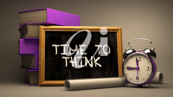 Time to Think Handwritten by white Chalk on a Blackboard. Composition with Small Chalkboard and Stack of Books, Alarm Clock and Rolls of Paper on Blurred Background. Toned Image. 3D Render.