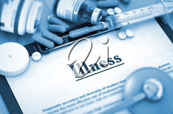 Illness - Medical Report with Composition of Medicaments - Pills, Injections and Syringe. Illness On Background of Medicaments Composition - Pills, Injections and Syringe. 3D.