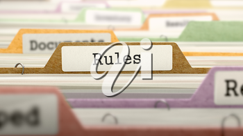 Folder in Colored Catalog Marked as Rules Closeup View. Selective Focus. 3D Render.