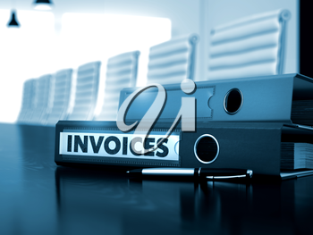 Invoices - Business Concept on Blurred Background. Invoices - File Folder on Wooden Table. Invoices. Illustration on Blurred Background. 3D.