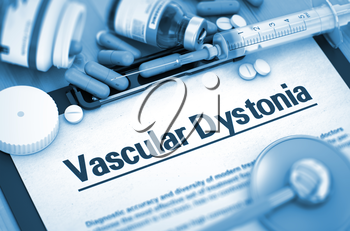 Vascular Dystonia Diagnosis, Medical Concept. Composition of Medicaments. Vascular Dystonia, Medical Concept with Pills, Injections and Syringe. 3D. Toned Image.