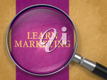Learn Marketing through Loupe on Old Paper with Dark Lilac Vertical Line Background. 3D Render.