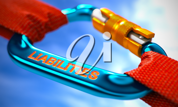 Strong Connection between Blue Carabiner and Two Red Ropes Symbolizing the Liabilities. Selective Focus. 3D Render.