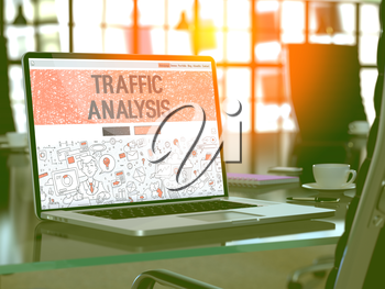 Traffic Analysis Concept - Closeup on Landing Page of Laptop Screen in Modern Office Workplace. Toned Image with Selective Focus. 3D Render.