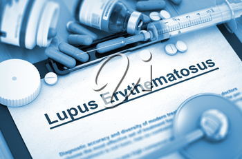 Lupus Erythematosus - Medical Report with Composition of Medicaments - Pills, Injections and Syringe. Lupus Erythematosus, Medical Concept with Selective Focus. Toned Image. 3D Render.