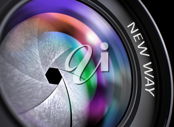 New Way - Text on Lens of Camera with Pink and Green Light of Reflection. Closeup View. New Way Written on Lens of Camera with Shutter. Colorful Lens Reflections. Closeup View. 3D Illustration.