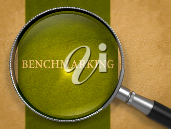Benchmarking Concept through Magnifier on Old Paper with Dark Green Vertical Line Background. 3D Render.