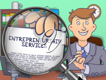 Entrepreneurship Services. Man Shows Paper with Business Offer through Magnifying Glass. Colored Doodle Illustration.