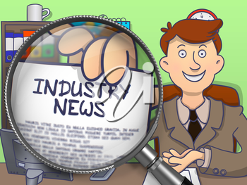 Businessman in Suit Shows Paper with Text Industry News through Magnifier. Closeup View. Colored Modern Line Illustration in Doodle Style.