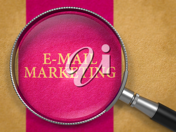 E-mail Marketing through Magnifying Glass on Old Paper with Lilac Vertical Line Background. 3D Render.