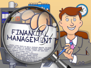 Financial Management through Magnifying Glass. Businessman Showing Paper with Text. Closeup View. Multicolor Doodle Style Illustration.