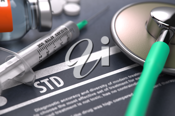 STD - Printed Diagnosis with Blurred Text on Grey Background and Medical Composition - Stethoscope, Pills and Syringe. Medical Concept. 3D Render.