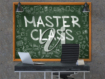 Master Class Concept Handwritten on Green Chalkboard with Doodle Icons. Office Interior with Modern Workplace. Dark Old Concrete Wall Background. 3D.