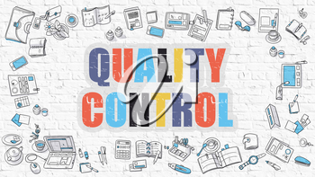 Quality Control - Multicolor Concept with Doodle Icons Around on White Brick Wall Background. Modern Illustration with Elements of Doodle Design Style.