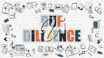 Due Diligence - Multicolor Concept with Doodle Icons Around on White Brick Wall Background. Modern Illustration with Elements of Doodle Design Style.